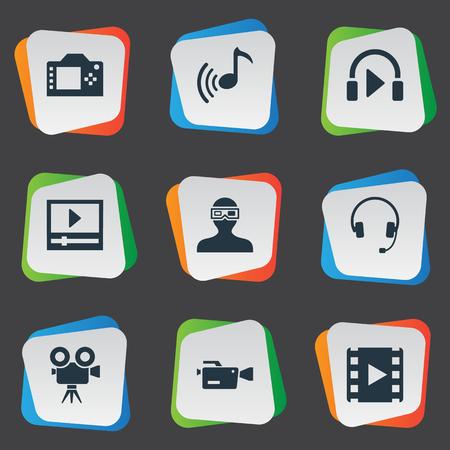 Elementen Movie Streaming, Sound, Earmuff En Andere Synoniemen Movie, Earmuff En Speel Vector Illustratie Set Stock Illustratie