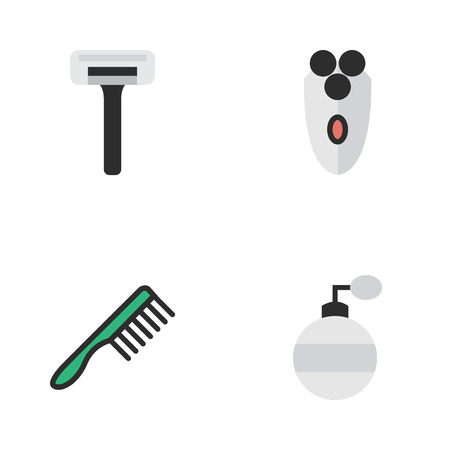 Vector Illustration Set Of Simple Barber Icons.
