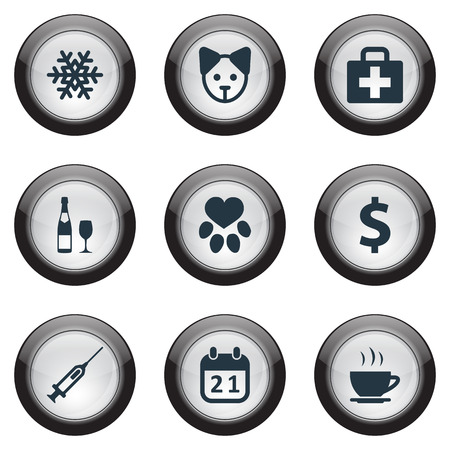 Léments empreinte, alcool, chien et autres synonymes Greenback, empreinte et neige Vector Illustration Set Banque d'images - 83366767