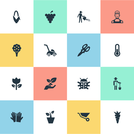 Vector Illustration Set Of Simple Gardening Icons.
