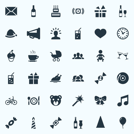 Vector Illustration Set Of Simple Celebration Icons. Illustration