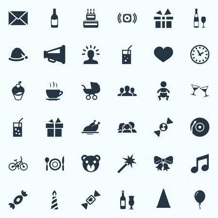 Vector Illustration Set Of Simple Celebration Icons. 向量圖像