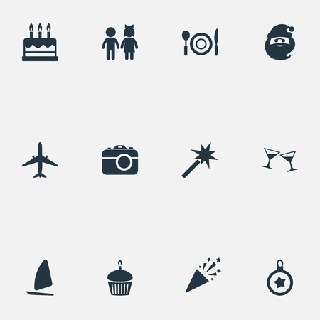 Vector Illustration Set Of Simple Vacation Icons.