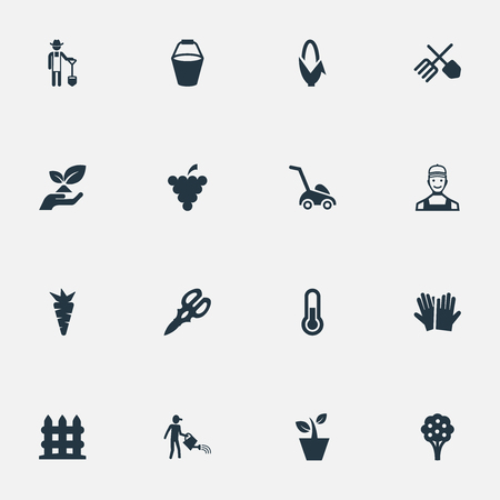 Vector Illustration Set Of Simple Garden Icons.