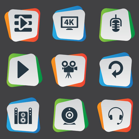 Vector Illustration Set Of Simple Multimedia Icons. Çizim