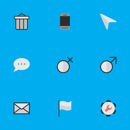 Vector Illustration Set Of Simple Interface Icons.