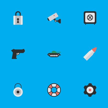 Elements Military, Closed, Shot And Other Synonyms Lock, Padlock And Military Vector Illustration Set Ilustrace