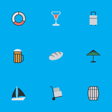 Vector Illustration Set Of Simple Vacation Icons. Elements Parasol, Wine, Schooner And Other Synonyms Bread, Pub And Baggage.