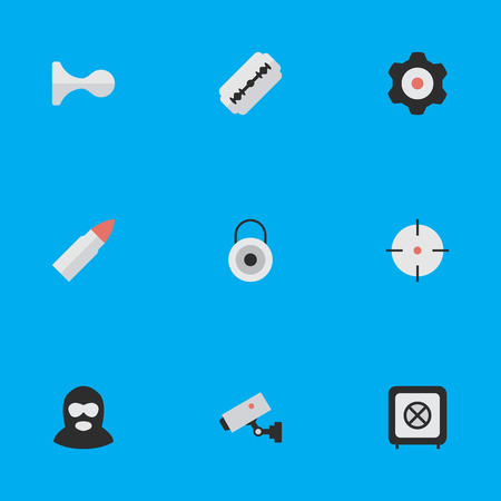 Vector Illustration Set Of Simple Offense Icons. Elements Cogwheel, Target, Blade And Other Synonyms Lock, Supervision And Burglar.