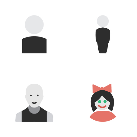 Vector Illustration Set Of Simple Avatar Icons. Elements Avatar, Person, Man And Other Synonyms Profile, Boy And Male.