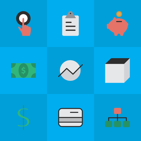 Vector Illustration Set Of Simple Business Icons. Elements Structure, Square, Dollar And Other Synonyms Touching, Finger And Task.