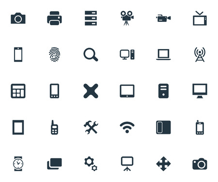 touchpad: Vector Illustration Set Of Simple Device Icons. Elements Projector, Clock, Contact And Other Synonyms Touchscreen, Server And Option.