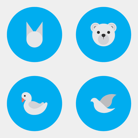 Vector Illustration Set Of Simple Fauna Icons. Elements Pigeon, Cat , Panda Synonyms Cat, Dove And Bird.