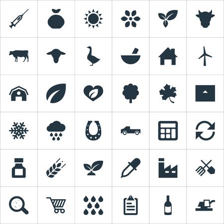 Ilustración Vectorial Conjunto De Iconos Agrícolas Simples. Elementos Copo De Nieve, Ganado, Cortijo Y Otros Sinónimos Contabilidad, Jeringa Y Ganado. Foto de archivo - 83387831