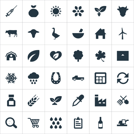 Vector Illustration Set Of Simple Agricultural Icons. Elements Snowflake, Livestock, Farmhouse And Other Synonyms Accounting, Syringe And Livestock.