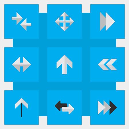 벡터 일러스트 레이 션 간단한 포인터 아이콘의 집합입니다. 요소 전방, 넓어 졌음, 뒤로 및 다른 동의어 다음, 앞뒤.