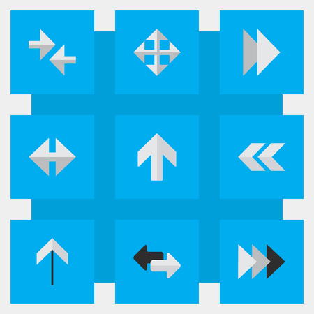 Vector Illustration Set Of Simple Pointer Icons. Elements Onward, Widen, Back And Other Synonyms Next, Ahead And Rearward. Illustration