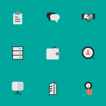 Vector Illustration Set Of Simple Job Icons. Elements Drawer, Talking, Agreement And Other Synonyms Task, Search And Press.
