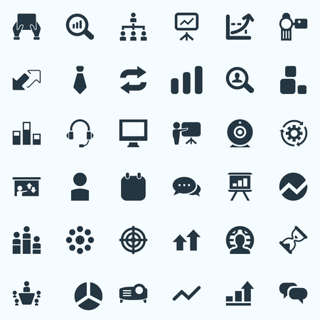 Vector Illustration Set Of Simple Training Icons. Elements Tablet, Search, Magnifier And Other Synonyms Data, Watch And Construction. Illustration