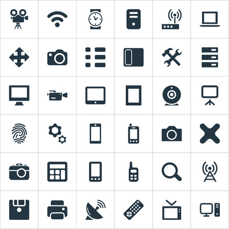 Vector Illustration Set Of Simple Device Icons. Elements Hardware, Settings, Switch And Other Synonyms Computer, Photographing And Tuning. Illustration