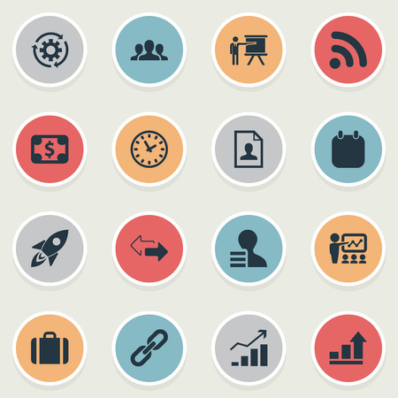 Vector Illustration Set Of Simple Business Icons. Elements Reverse Directions, Suitcase, Event And Other Synonyms Statistics, Event And Link.