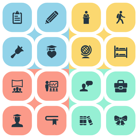 Vector Illustration Set Of Simple School Icons. Elements Speech, Slideshow, Globe And Other Synonyms Christmas, Row And Decoration.