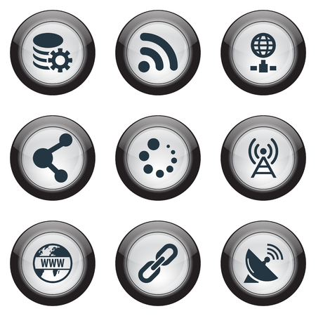 Vector Illustration Set Of Simple Browser Icons. Elements Network Sharing, Sputnik Signal, Internet And Other Synonyms Hyperlink, Wireless And Signal. Illustration