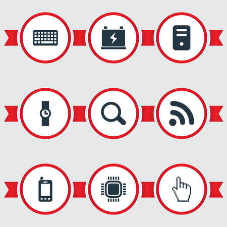 Vector Illustration Set Of Simple Gadget Icons. Elements Magnifier, Keypad, Mobile And Other Synonyms Wireless, Computer And Wristwatch.