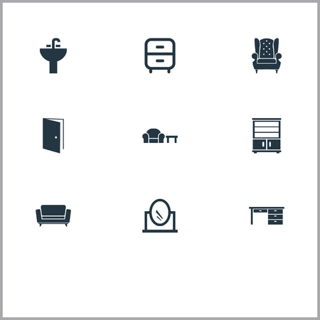 Vector Illustration Set Of Simple Furnishings Icons. Elements Vintage Accessory, Trestle, Tap And Other Synonyms Cabinet, Office And Cupboard.