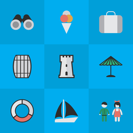 Vector Illustration Set Of Simple Holiday Icons. Elements Sorbet, Optical Zoom, Schooner And Other Synonyms Container, Barrel And Love.