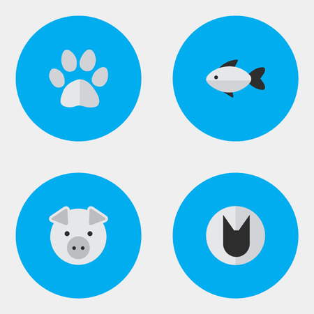 Vector Illustration Set Of Simple Zoo Icons. Elements Foot, Piggy, Tomcat And Other Synonyms Perch, Pig And Fish.