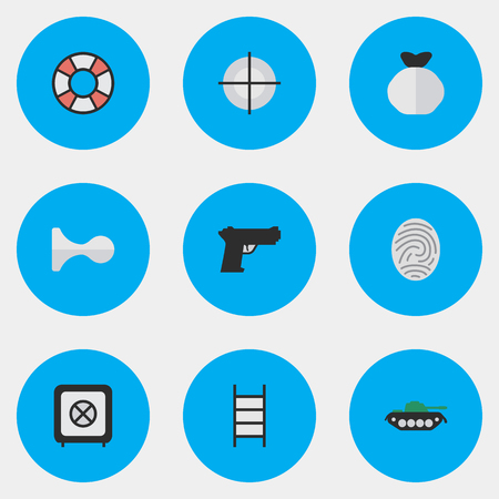 Vector Illustration Set Of Simple Criminal Icons. Elements Bioskyner, Lifesaver, Hunting And Other Synonyms Ladder, Protection And Lifebuoy.