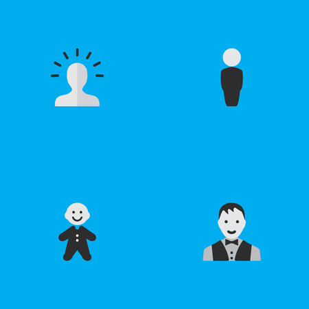 Vector Illustration Set Of Simple Avatar Icons. Elements Guy, Person, Male And Other Synonyms Section, Male And Child.