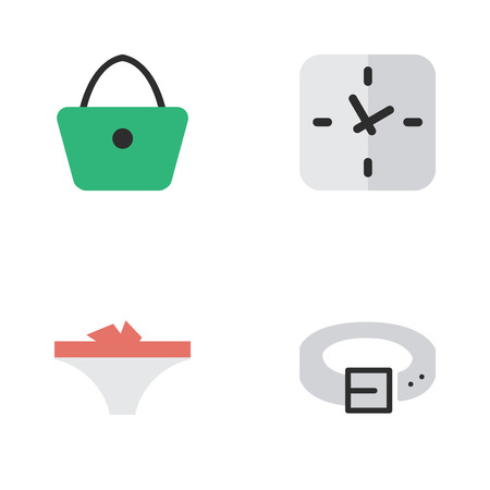 Vector Illustration Set Of Simple Accessories Icons. Elements Lingerie, Time, Strap And Other Synonyms Handbag, Panties And Waist.