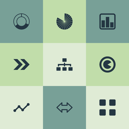 Vector Illustration Set Of Simple Chart Icons. Elements Hierarchy, Reverse Arrows, Lecture And Other Synonyms Relation, Process And Piece.