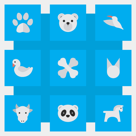 Vector Illustration Set Of Simple Animals Icons. Elements Bear, Panda , Cat Synonyms Crane, Cat And Bird. Illustration