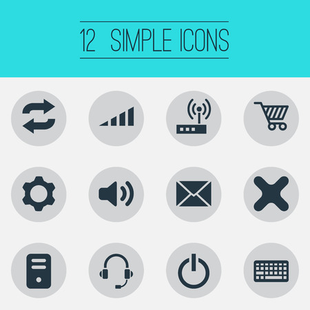 Vector Illustration Set Of Simple Device Icons. Elements Headphone, System Unit, Cogwheel And Other Synonyms Cart, Router And Unit.