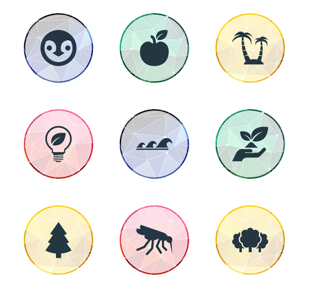 Vector Illustration Set Of Simple Geo Icons. Elements Forest, Green Power, Environmental Care And Other Synonyms Mosquito, Apple And Reef. 向量圖像