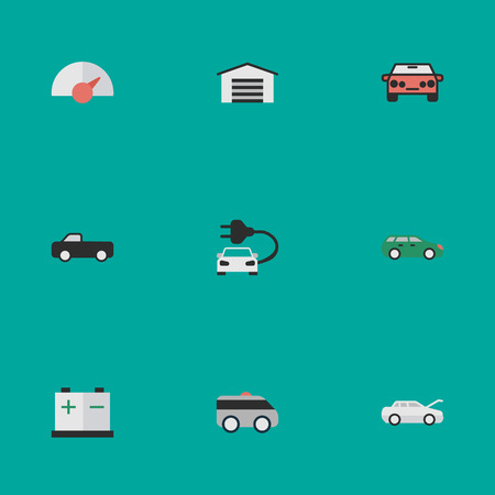 Vector Illustration Set Of Simple Traffic Icons. Elements Accumulator, Sedan, Charge And Other Synonyms Artillery, Auto And Garage. Illustration