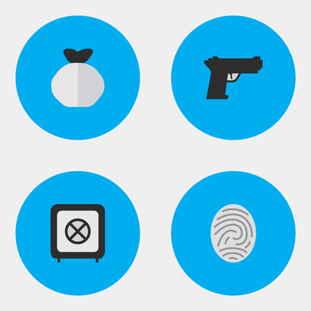 Vector Illustration Set Of Simple Criminal Icons. Elements Bioskyner, Vault, Moneybox And Other Synonyms Fingerprint, Save And Bag.