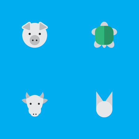 Vector Illustration Set Of Simple Wild Icons. Elements Tortoise, Kine, Piggy And Other Synonyms Tortoise, Tomcat And Piggy. Ilustrace