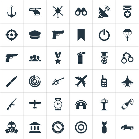 Vector Illustration Set Of Simple Military Icons. Elements Sky Force, Signal Receiver, Ship Hook And Other Synonyms Aviation, Spyglass And Switch.