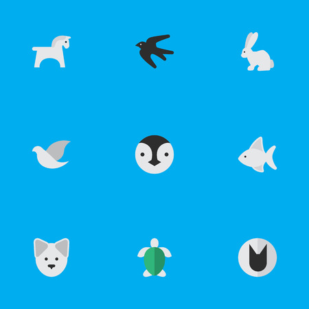 Vector Illustration Set Of Simple Zoo Icons. Elements Hare, Wolf, Pigeon And Other Synonyms Pigeon, Bird And Seafood.