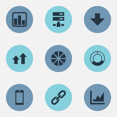 単純なデータ アイコンのベクター イラスト セット。要素データ、増加、チェーン、その他類義語円増加とグラフィック。  イラスト・ベクター素材