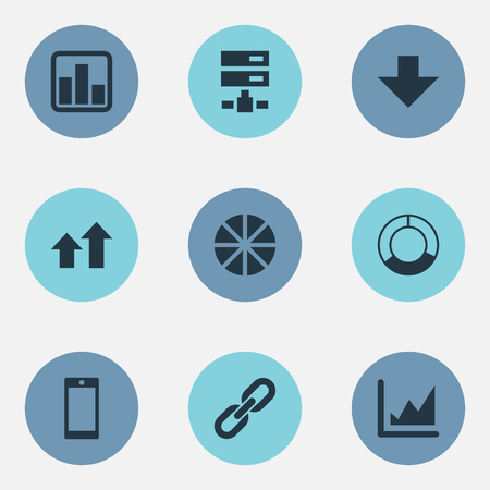 Vector Illustration Set Of Simple Data Icons. Elements Data, Increase, Chain And Other Synonyms Pie, Increase And Graphic. 向量圖像