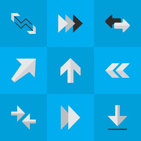 単純なポインター アイコンのベクター イラスト セット。要素の矢印、以降、楽しみにして、他の同義語バック、ブームと南西。  イラスト・ベクター素材