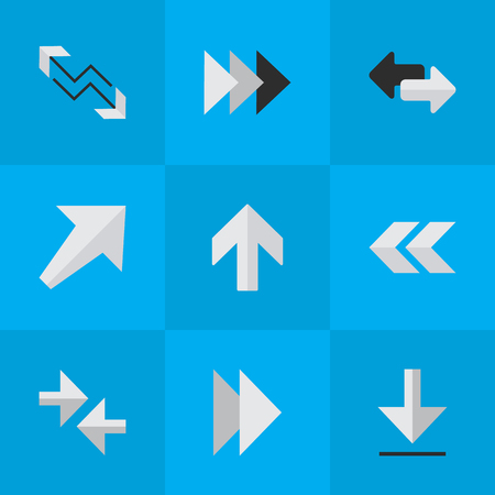 Vector Illustration Set Of Simple Pointer Icons. Elements Arrow, Onward, Forward And Other Synonyms Back, Boom And Southwest. Illustration