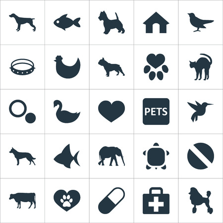 Vector Illustration Set Of Simple Fauna Icons. Elements Ocean Fish, Footprint, Drug And Other Synonyms Love, English And Pet. Illustration