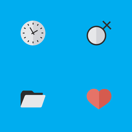 Vector Illustration Set Of Simple Menu Icons. Elements Female, Heart, Time And Other Synonyms File, Soul And Archive.