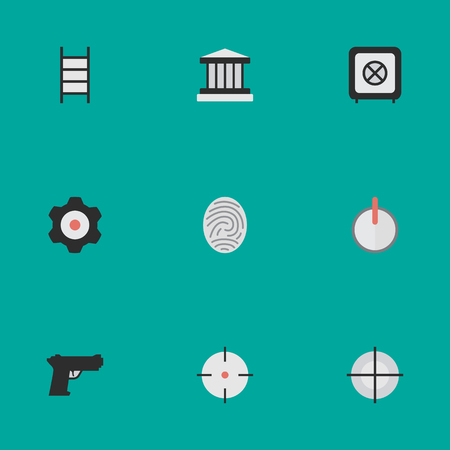 Vector Illustration Set Of Simple Offense Icons. Elements Stairs, Cogwheel, Vault And Other Synonyms Bioskyner, Save And Safe. Illustration